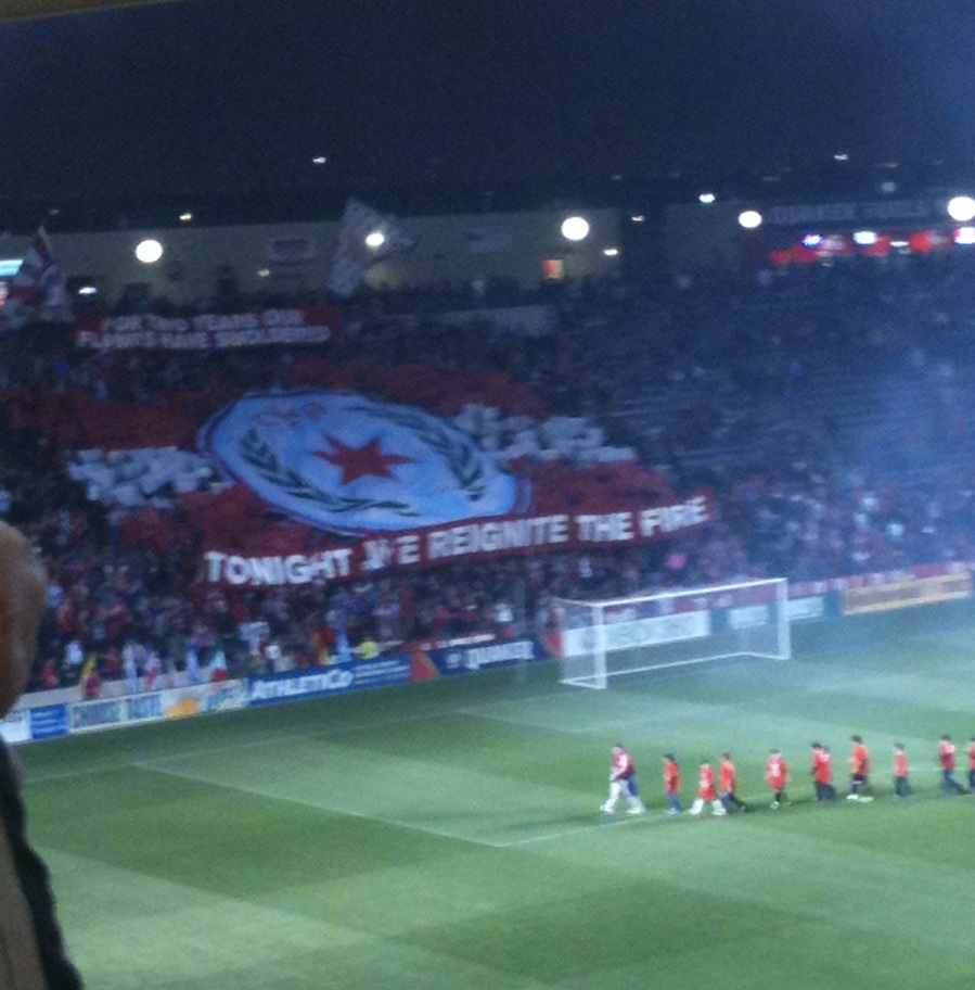 Section 8's remarkable tifo displayed before the match.